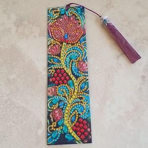 Jeweled Rose Leather Bookmark nwot